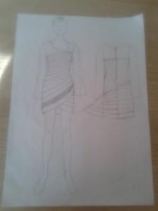 Elbisenin teknik çizimi